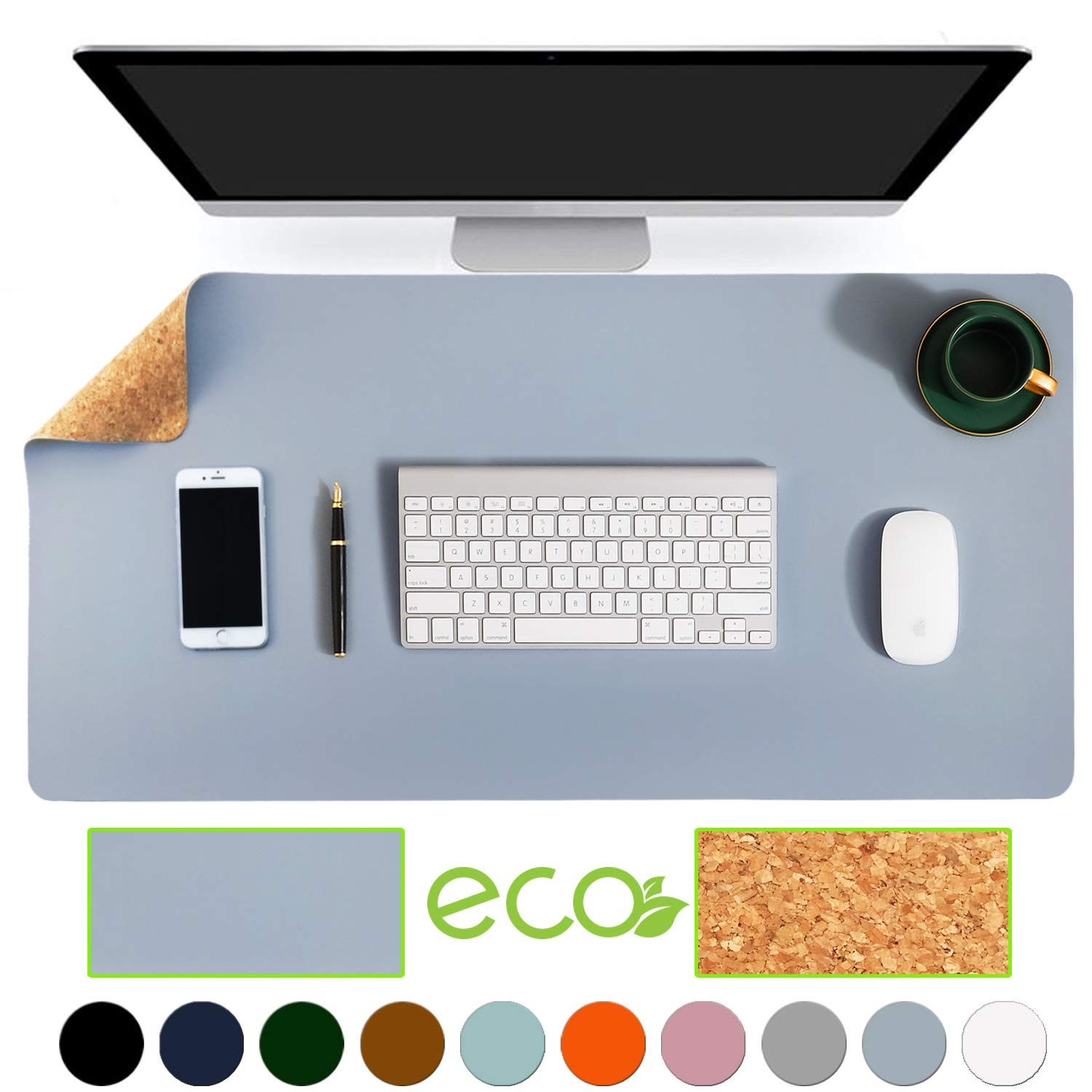 """Aothia Eco-Friendly Natural Cork & Leather Double-Sided Office Desk Mat 31.5"""" x 15.7"""" Mouse Pad Smooth Surface Soft Easy Clean Waterproof PU Leather Desk Protector for Office/Home Gaming (Blue-Gray)"""