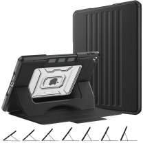 """MoKo Case Fit New iPad 7th Generation 10.2"""" 2019 / iPad 10.2 Case, Shockproof Rugged Protective Case with Multi-Angle Magnetic Stand, Pencil Holder & Auto Sleep/Wake for iPad 10.2-inch - Black"""