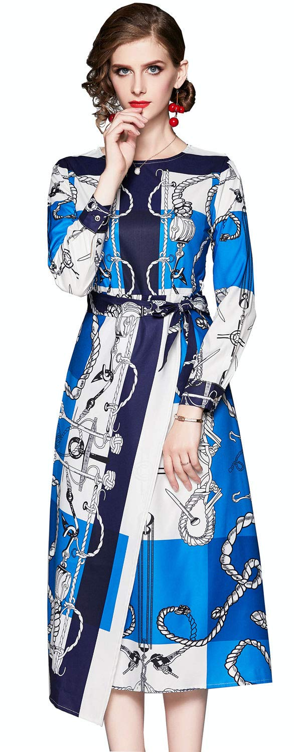 XINUO Women Dresses Autumn Daily Wear Print Fabric Blue Color Dress Long Sleeve Round Neck Waist Lacing Tea Formal Midi Dress(Blue & White,US10(Tag Size XL))