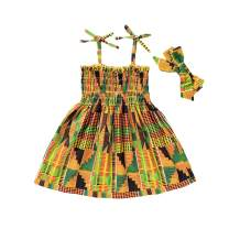 GRNSHTS African Dresses for Baby Girls Toddler Kids Print Sleeveless Halter Dress Boho Clothes + Hair Band