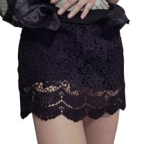 Kangqifen Women's Skorts Lace Elasticity Plus Size Summer Shorts Skirt Black