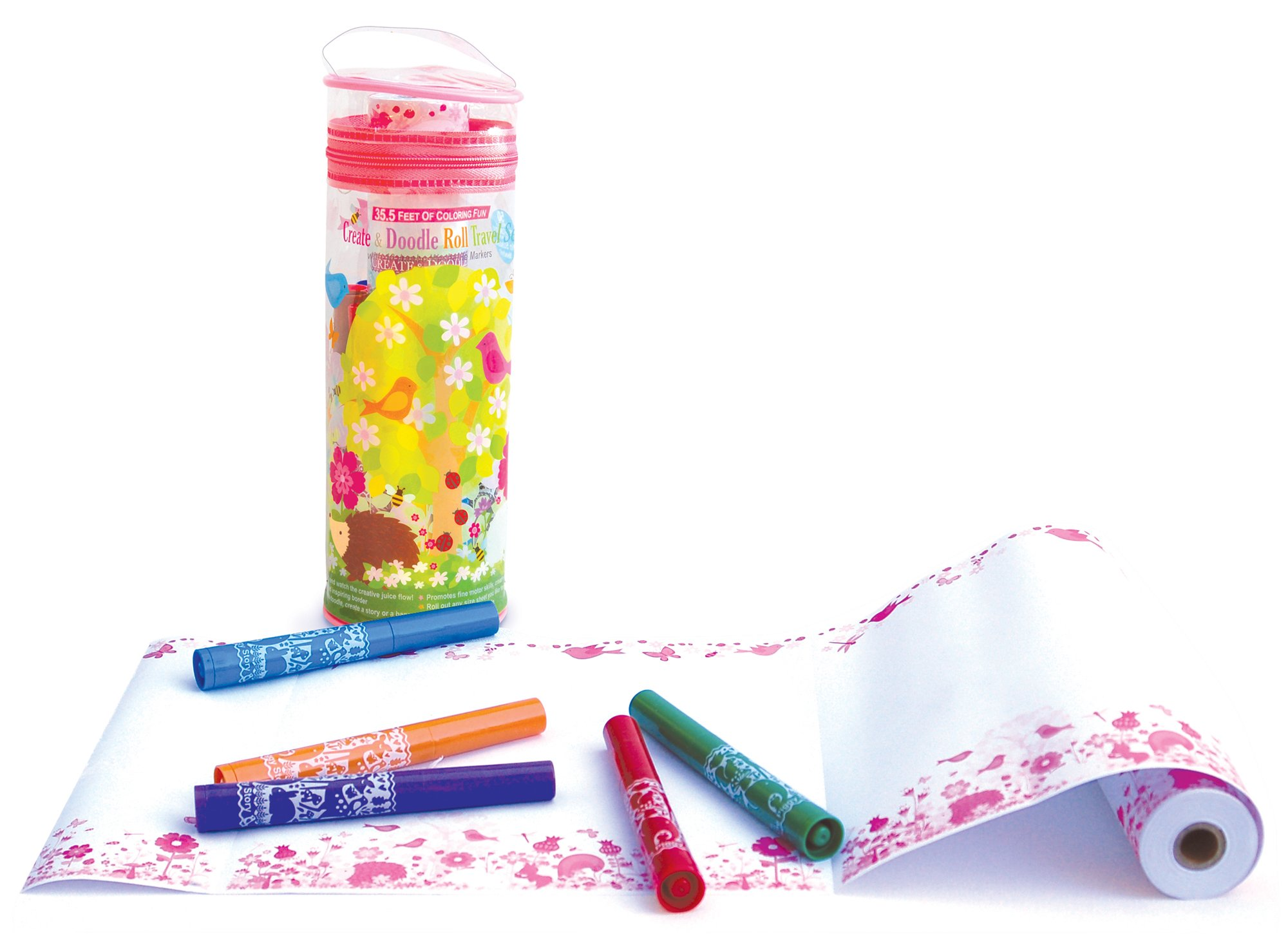 The Piggy Story 'Fairy Garden' Create & Doodle Art Paper Roll Travel Set with Markers