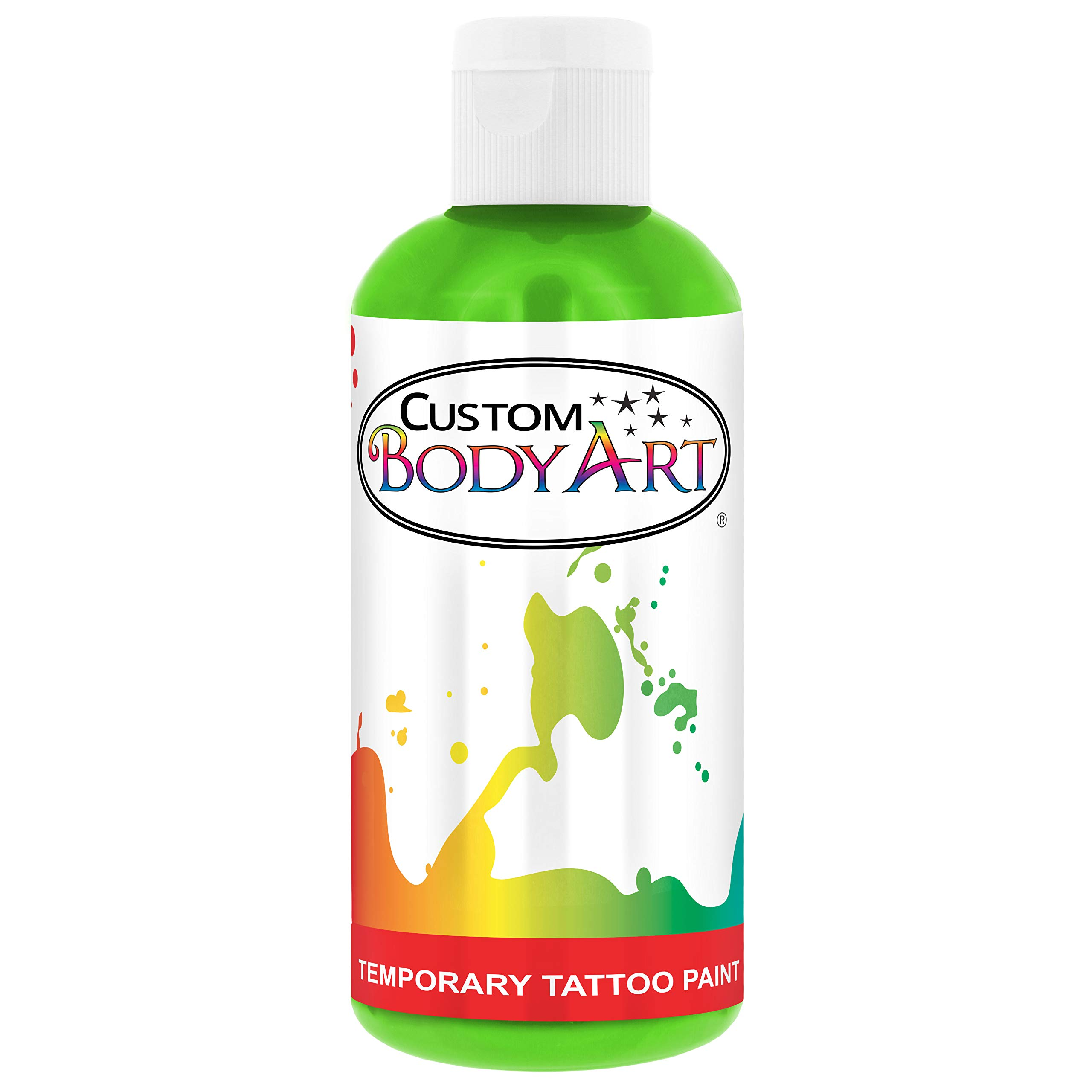 Custom Body Art 8-Ounce Lime Green Temporary Airbrush Tattoo Body Art Paint Alcohol Based