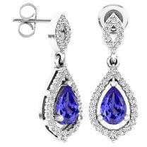 Dazzlingrock Collection 6X4 MM Each Pear Gemstone & Round White Diamond Ladies Teardrop Dangling Drop Earrings, Sterling Silver