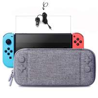 Slim Case and Tempered Glass Screen Protector,Car Charger for Nintendo Switch - Protective Travel Carrying Case with 10 Game Cartridges, Hard Shell Pouch for Nintendo Switch Console and Accessories