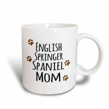 3dRose (mug_154114_5) English Springer Spaniel Dog Mom - Doggie by breed - brown muddy paw prints - doggy lover pet owner - Two Tone Red Mug, 11oz
