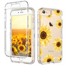 iPhone 6S Case iPhone 6 Case GUAGUA Clear Transparent Cover Sunflower Floral Printed Three Layer Hybrid Hard Plastic Soft Rubber Shockproof Protective Phone iPhone 6/6S Yellow