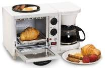 Maxi-Matic 3-in-1 Breakfast Station Toaster Oven with Timer, Griddle, Medium, White