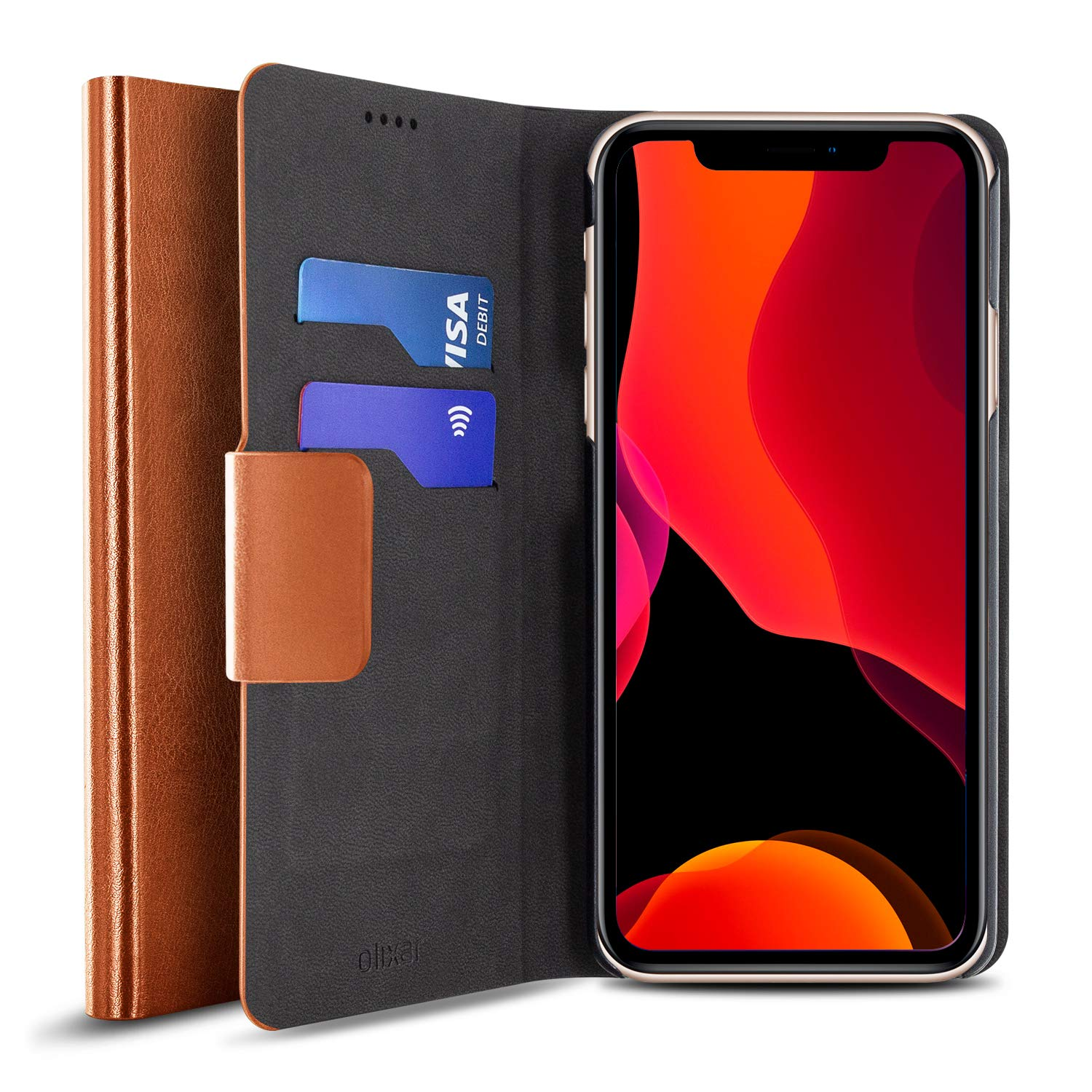 Olixar for iPhone 11 Pro Wallet Case - PU Faux Leather/Leather Style Flip Cover - Credit Card Storage - Built in Kickstand - Wireless Charging Compatible - Brown