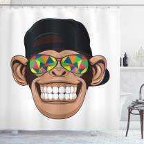 """Ambesonne Monkey Shower Curtain, Funny Hipster Animal Chimpanzee Character Portrait with Colorful Geometric Glasses, Cloth Fabric Bathroom Decor Set with Hooks, 75"""" Long, Brown Black"""