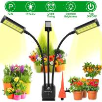 Grow Lights for Indoor Plants, iBesi Tri Head 72W 144 LED Sunlike Full Spectrum Plant Lights, with Auto On/Off Cycle Timer, 4 Modes Stepless Dimmable Growing Lamp for Seedling Succulents Hydroponics