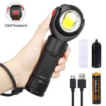 Magnetic LED Work Light 360° Rotate 7 Modes Inspection Lamp Portable Work Flashlight with Red Light and White Light (Battery Include)