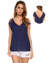 Zeagoo Women's Casual Chiffon Stitching Cold Shoulder Blouse and Tops Blue M