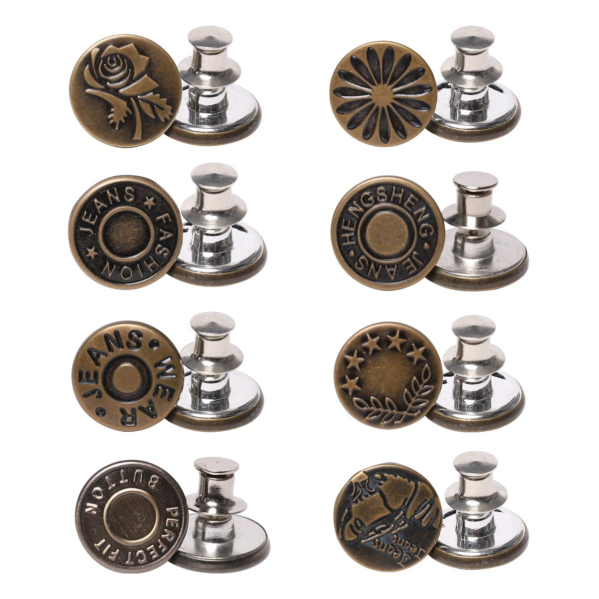 CHIFONG 17mm Detachable Jeans Button Pins. No-Sew Pants Button, Jeans Metal Instant Buttons, Replacement Denim Jackets Buttons. Adjustable Waist Buckle, Sewing Crafts Fashion DIY 801