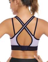 Hawiton 1/2 Pack Women's Sports Bras Low Impact High-Neck Longline Removable Padded for Yoga Running Dancing Gym