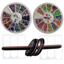 New8BEauty Nail Art Kit - 3D Rhinestones Colorful and Neon Wheels - Nail Striping Tape Strips (3D Rhinestones Colorful and Neon Wheels) FREE Emery Board