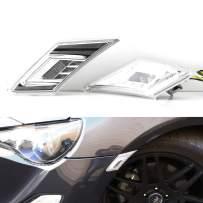 iJDMTOY JDM Clear Lens White/Amber LED Front Side Marker Light Kit Compatible With 2013-16 Scion FR-S, 13-19 Subaru BRZ, 17-up Toyota 86 (Parking Light: White LED, Turn Signals: Amber LED)