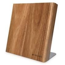 "Navaris Wooden Magnetic Knife Holder - Universal Wood Magnetic Block & Organizer for Knives, Scissors, Utensils - Acacia, 9.1"" x 8.9"""