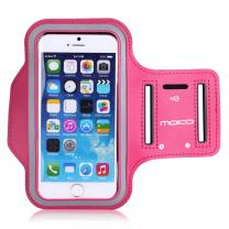 MoKo Phone Armband, Water Resistant Running Cell Phone Armband with Key Holder Adjustable Band Compitable with iPhone 11 Pro, X, Xs, 8, 7, 6, 6s, 5s, 5c, SE, 5, 4S,4 for Walking Fitness, Magenta