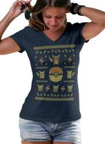 Ugly Sweater T-Shirt Fan Made V-Neck Style Women's