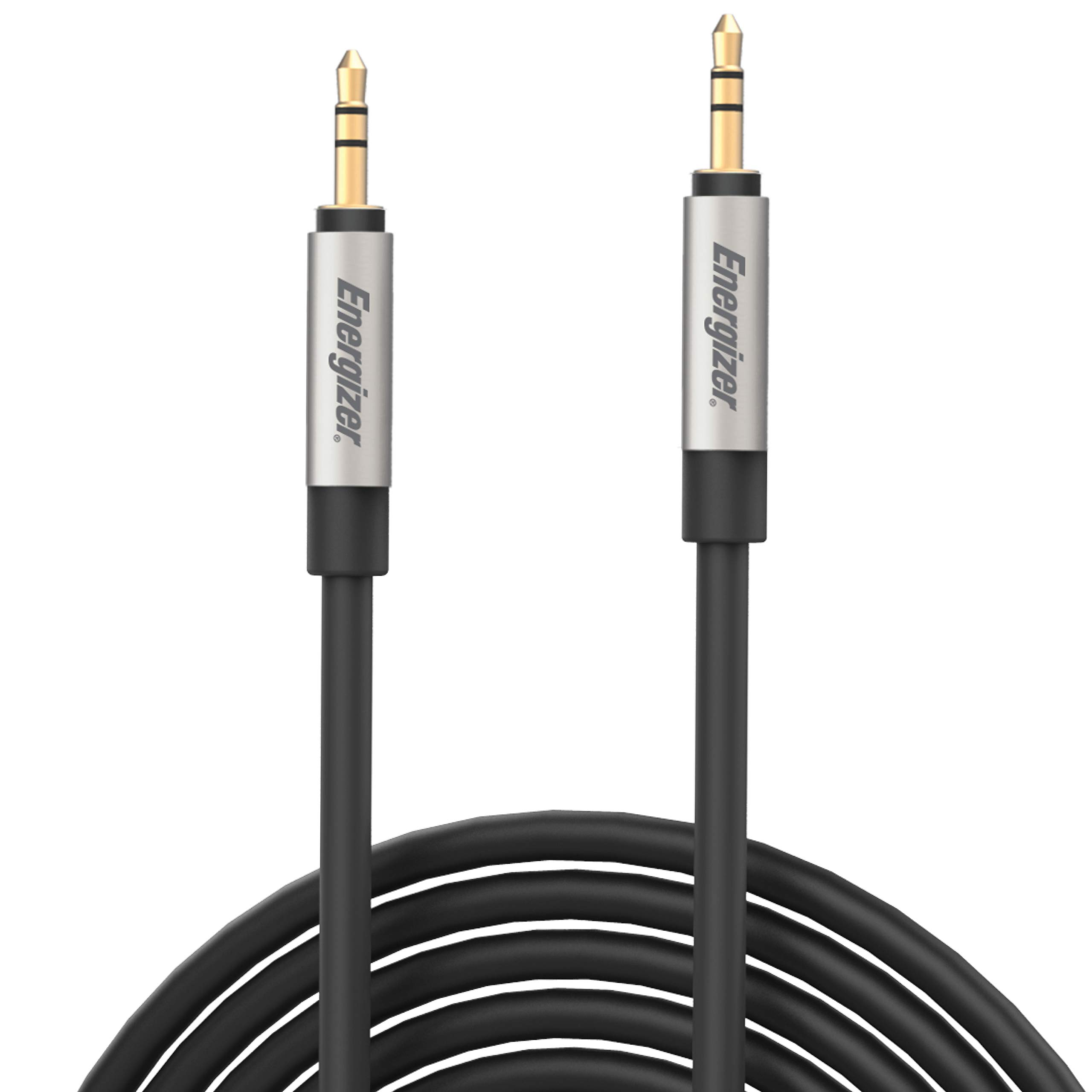 Premier Energizer Ultimate iPhone Car Connector AUX Cable to AUX or to Lightning Cord MFi Audio Link Headphone Jack Auxiliary Adapter 3.5 mm Nylon Braided Metal Tip, 4ft 6ft 10ft