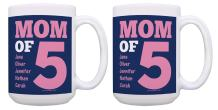 Custom Coffee Mug Mom of 5 Great Mom Gift Idea Mothers Day Gifts Personalized Mugs for Women Mom Gift Set 2 Pack Personalized Gifts 15-oz Coffee Mugs Tea Cups 15 oz White