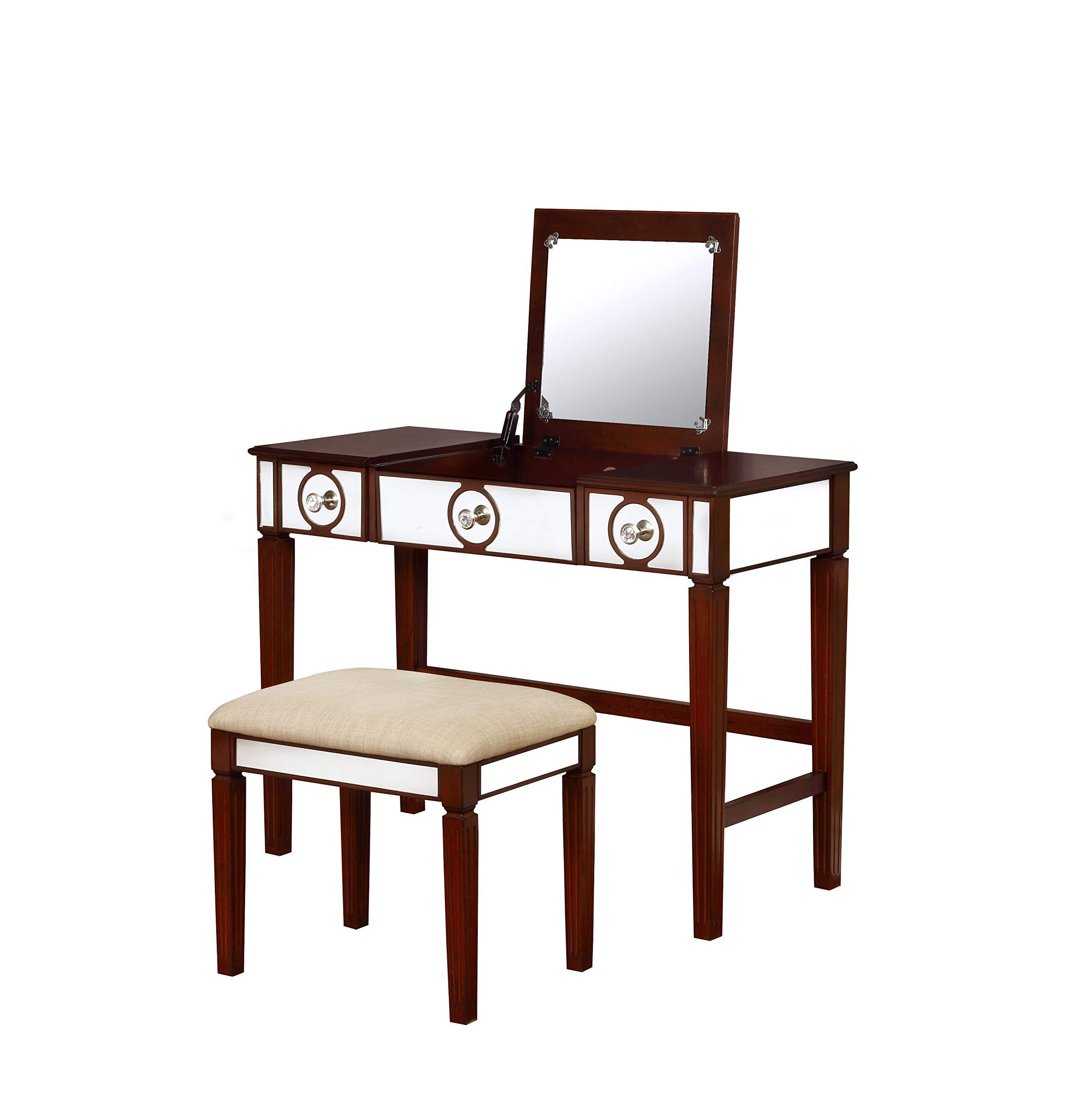 Benjara Wooden Vanity Set with Flip Top Mirror and Two Drawers, Brown and Beige