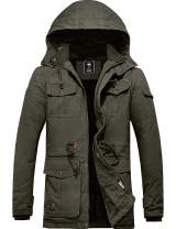 YXP Men's Winter Thicken Cotton Military Parka Jacket with Removable Hood