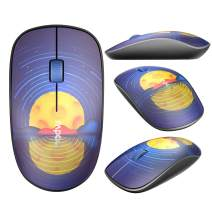 RAPOO Silent Wireless Mouse, Portable and Quiet, USB Receiver, Ergonomic and Personalized Design, 1000 DPI, Long Battery Life for Notebook, PC, Laptop, Computer- Lake Blue