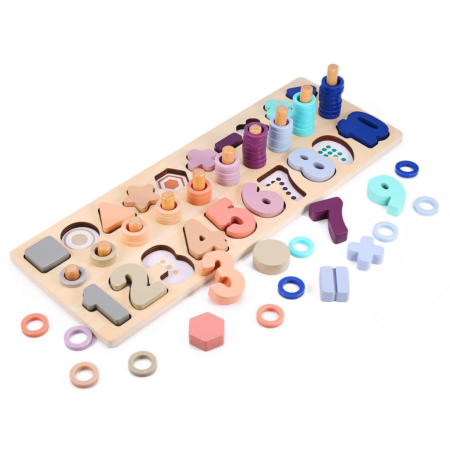 Voamuw Wooden Number Puzzle Sorting Stacking Toys for Toddlers - Shape Sorter Counting Game for Age 2 3 4 5 Year olds Kids - Preschool Education Math Stacking Block Learning Wood Chunky Jigsaw