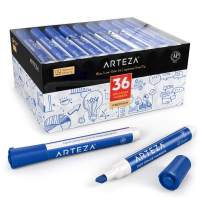 ARTEZA Dry Erase Markers, Bulk Pack of 36 (with Chisel Tip), Blue Color with Low-Odor Ink, Whiteboard Pens is perfect for School, Office, or Home