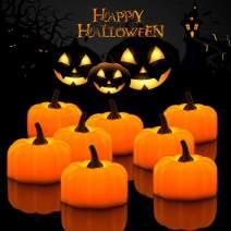 Halloween 12 Pack LED Pumpkin Lights, Jack-O'-Lantern, Small Orange Flickering Tea Lights, for Halloween, Fall Festival Decorations