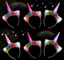 LED Flashing Unicorn Horn Headband Light up Glitter, Flower Ears Unicorn Headbands for Girls, Birthday Party Supplies, Favors and Decorations 6 Pack (Flowers)