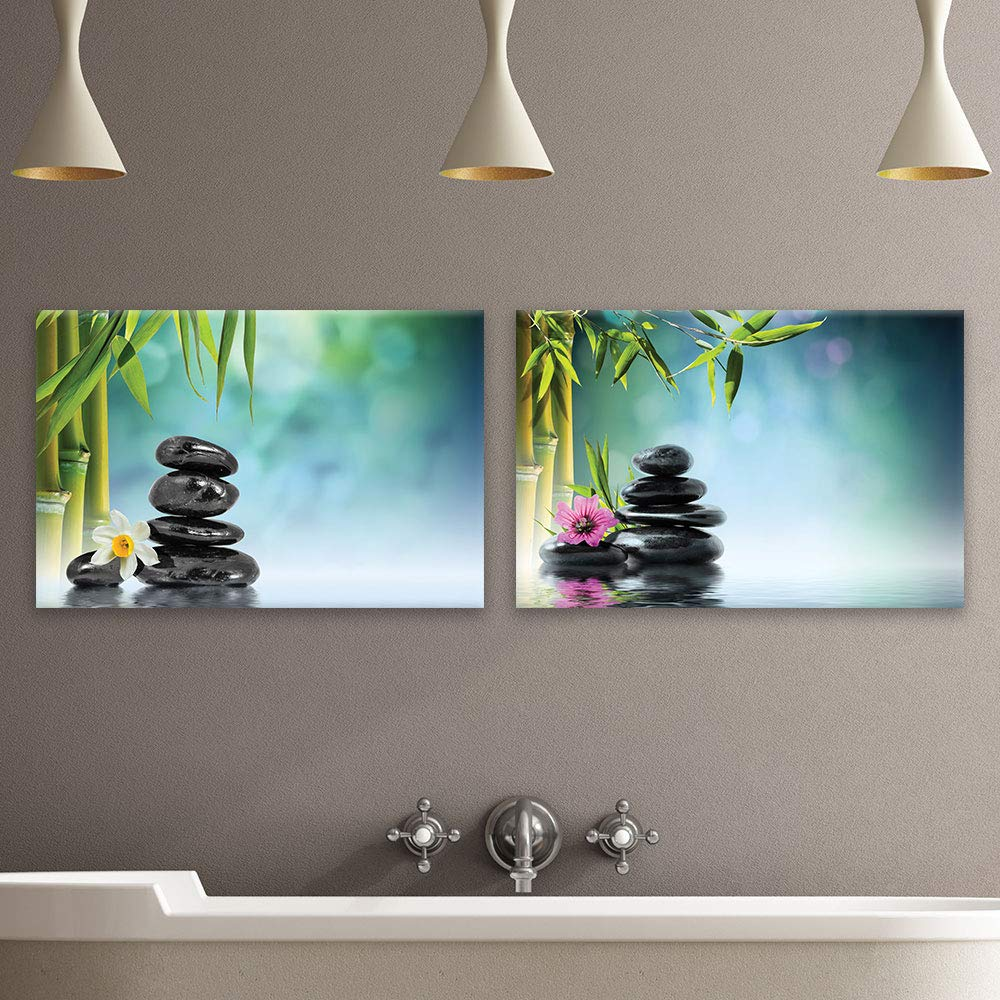 """wall26 Canvas of Bamboo and Hot Rock Spa Canvas Set