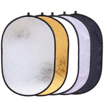 "5-in-1 Foldable Backdrop 35"" x 47"" Reflector Photography Photo Studio Portable Collapsible Oval Large Light Reflectors/Diffuser Accessories Kit with Carrying Case for Outdoor Camera Vedio Lighting"