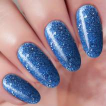 2 In 1 Blue Glitter Dip Acrylic Nail Powder (Added Vitamin and Calcium) I.B.N Glitter Dipping Powder 1 Ounce, Non-Toxic & Odor-Free, No Need UV LED Nail Lamp (101)