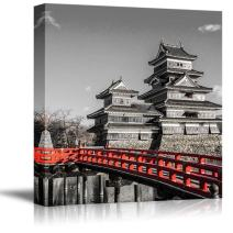 wall26 Black and White Photograph with Pop of Red on a Bridge by Chinese Temples - Canvas Art Home Decor - 16x16 inches