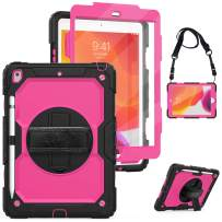 """New iPad 7th Generation 10.2"""" Case 2019 with Screen Protector&Pencil Holder,Herize New iPad 10.2 Case with Rotatable Stand, Hand Strap and Shoulder Belt, Shockproof Case for iPad 10.2 inch Tablet Rose"""