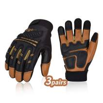 Vgo 3Pairs High Dexterity Water Repellent Goat Leather Heavy Duty Mechanic Glove,Rigger Glove,Anti-vibration,Anti-abrasion,Touchscreen (Size S, Brown,GA8954)