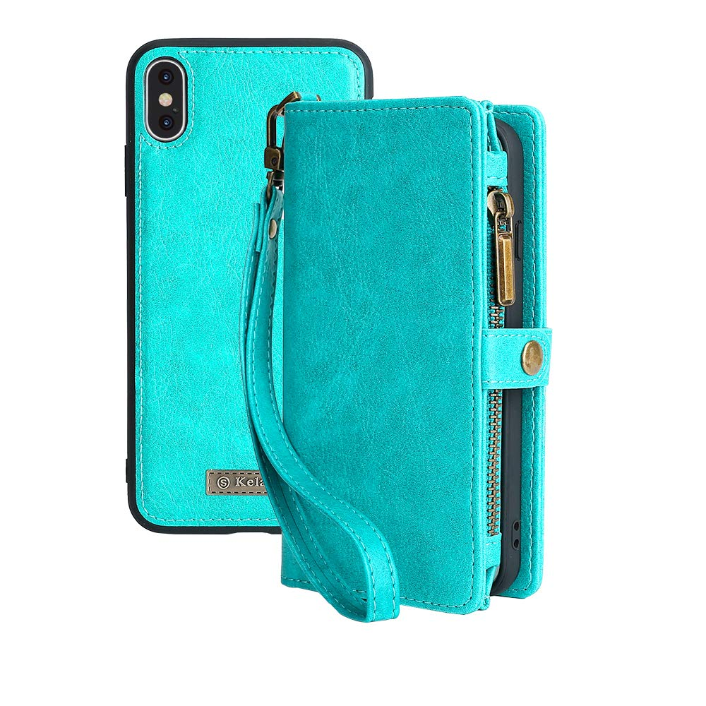 KelaSip iPhone Xs MAX Wallet Case, Leather Wallet Phone Case & Card Holder Buckle Magnetic Detachable,Blue,for iPhone Xs MAX