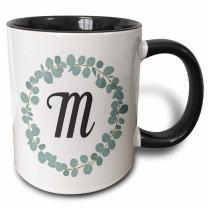 3dRose Letter M Monogram Eucalyptus Leaves Wreath Elegant Greenery Ceramic Mug, 11 oz, Black/White