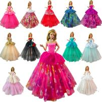 BARWA Lot 7 Pcs Doll Dresses Handmade Fashion Wedding Party Ball Gown Lace Dresses Outfits Compatible for 11.5 inch Doll