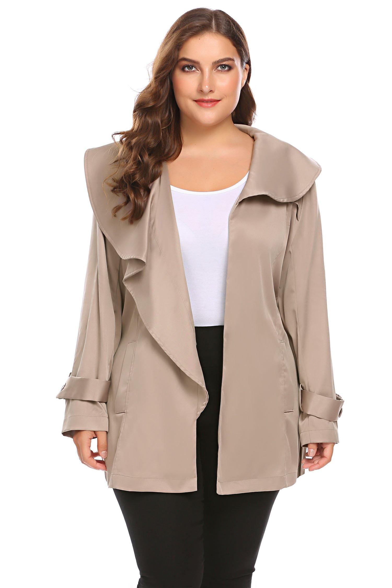 Zeagoo Women's Plus Size Lapel Short Trench Coat with Striped Belt