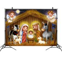 LB 10x8ft Vinyl Jesus Nativity Easter Backdrop Three Wise Men Star of Bethlehem Angel Birth of Jesus Backdrops for Photography Kids Baby Shower Photo Booth Studio Props