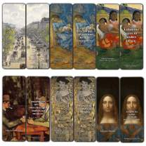 Creanoso Vintage Cards - Various Artists Bookmarker (12-Pack) - Van Gogh Paul Cézanne Gustav Klimt Salvator Mundi Bookmarks for Men, Women, Teens – Most Expensive Paintings – Cool Art Paints