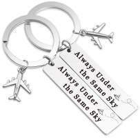 Ribukat Couple's Keychain Always Under The Same Sky Keychain Long Distance Relationship Gift