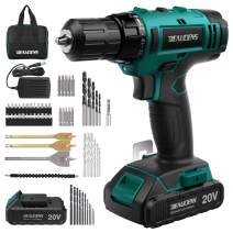 BEAUDENS 20V Cordless Drill Driver Kit, 2000mAh Lithium-ion Battery, 61-Piece Accessories, 21+1 Torque Setting and Variable Speed, 3/8 inches Keyless Chuck for Home & DIY Project Drilling Walls, Brick