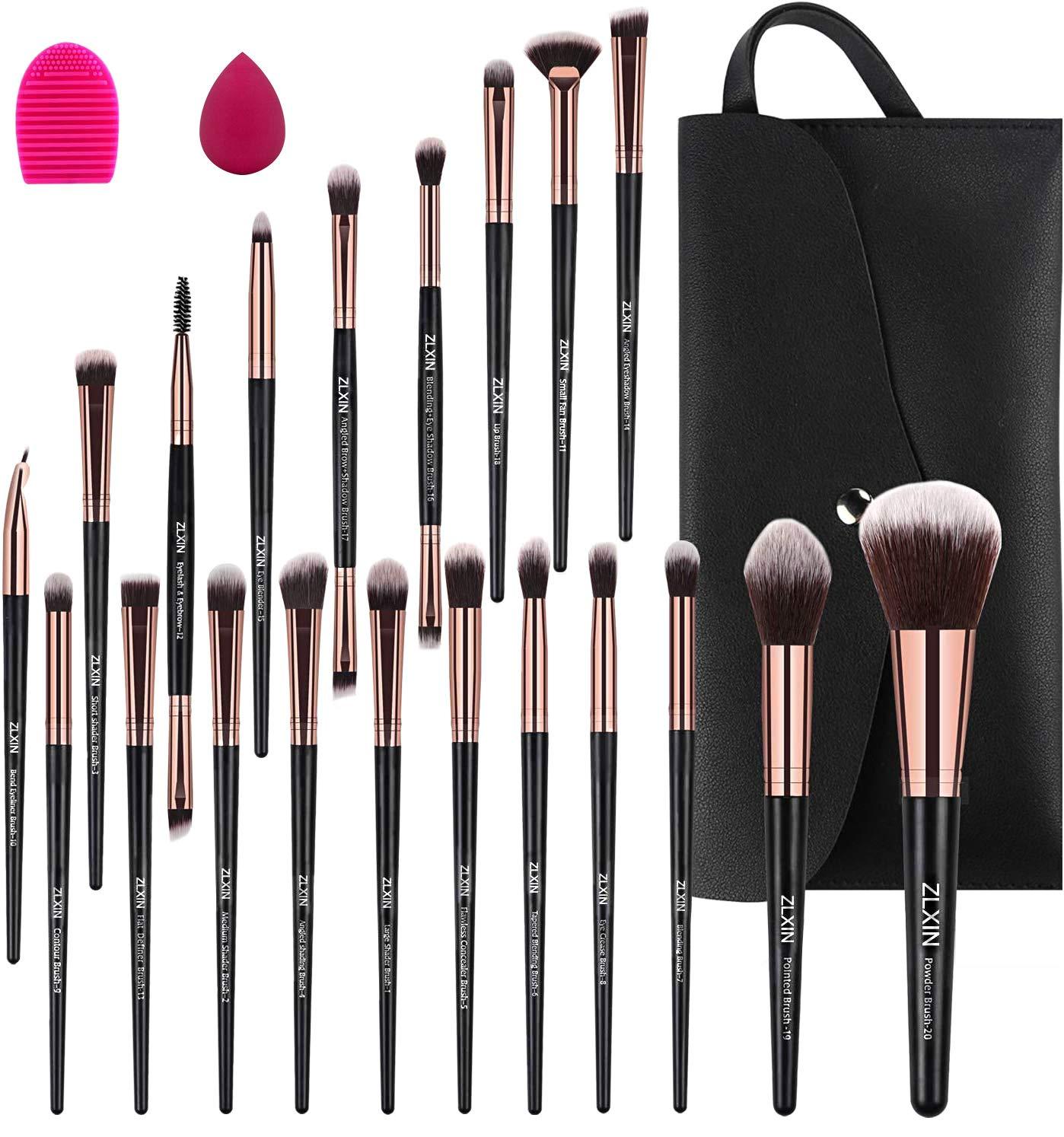 ZLXIN Makeup Brushes Set 23 Pcs Premium Synthetic Kabuki Foundation Face Powder Blush Concealers Eye Shadows Make Up Brushes Kit with Storage Bag Blender Sponge and Brush Cleaner (Black)