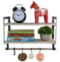 Spiretro Wall Mount 2 Tier Floating Shelves with Metal Bracket, Rustic Torched Wood with Removable Towel Rod and S Hooks to Storage Organize Hang and Display for Kitchen Book Study Bathroom- Grey