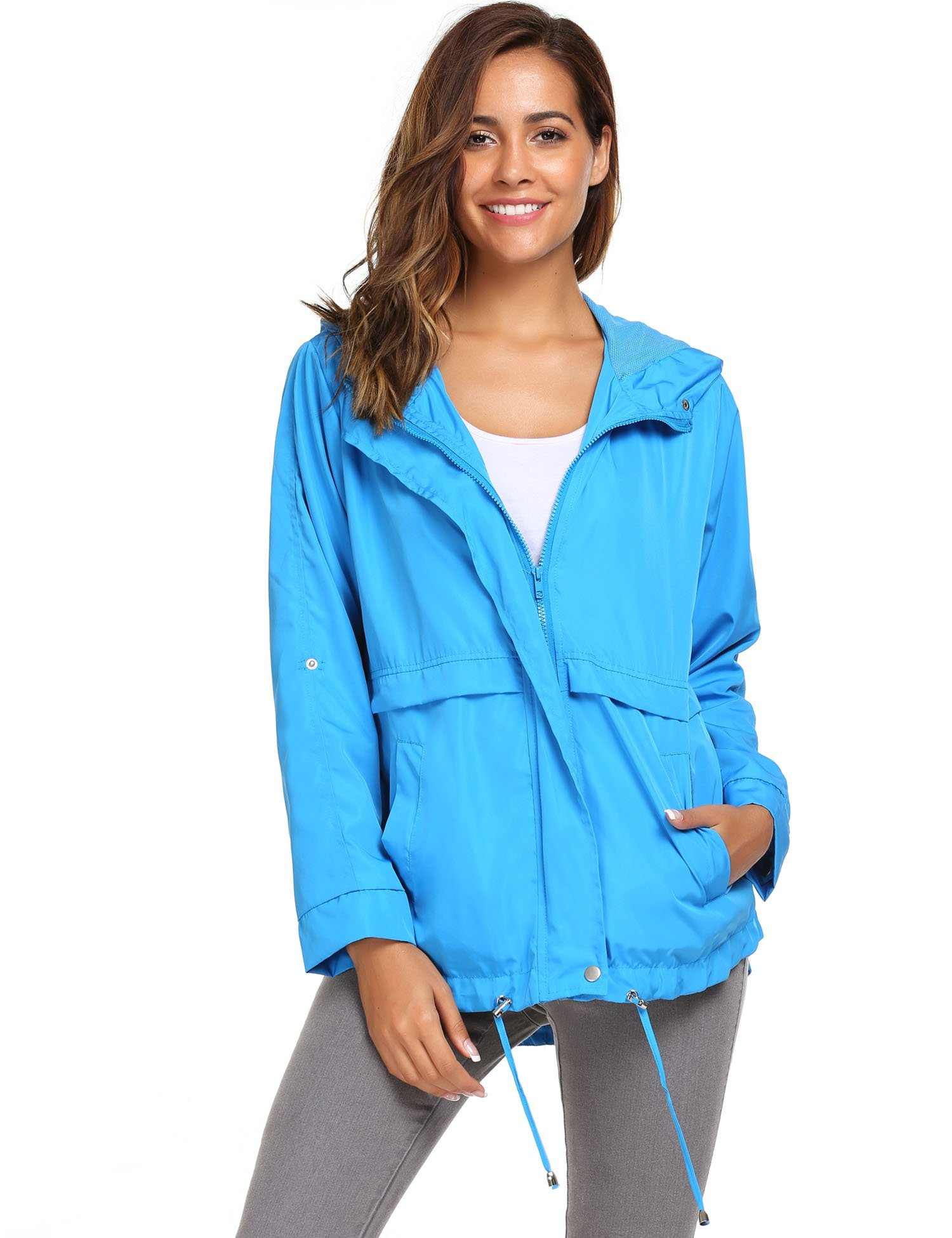 Zeagoo Women Waterproof Rain Jacket Hoodie Windproof Outdoor Coat Venture Windbreaker